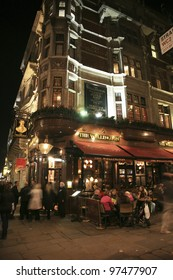 LONDON - NOV 6: Exterior of pub, for drinking and socializing, focal point of the community, on Nov 6, 2010, London, UK. Pub business, now about 53,500 pubs in the UK, has been declining every year