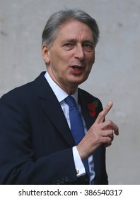 LONDON - NOV 8, 2015: Philip Hammond Secretary of State for Foreign and Commonwealth Affairs attends the Andrew Marr show at the BBC on Nov 8, 2015 in London