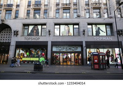 LONDON - NOVEMBER 07, 2018: Topshop on Oxford Street, London, UK.