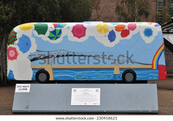 LONDON - NOVEMBER 10. London celebrates its buses with 41 decorative bus models across the city on November 10, 2014; this one titled Brolleybus by Jane Veveris Callan at Bankside, London, UK.