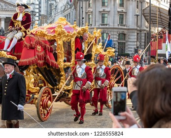 LONDON - NOVEMBER 10: The new Lord Mayor, Peter Estonia, at the annual Lord Mayor's Show in the City of London on November 10, 2018. The show has been held every year since 1189.