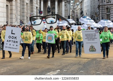 LONDON - NOVEMBER 10: Unidentified people parading at the annual Lord Mayor's Show in the City of London on November 10, 2018. The show has been held every year since 1189.
