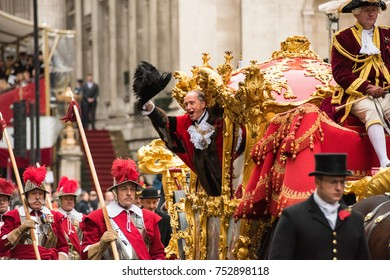 LONDON - NOVEMBER 11, 2017: The Lord Mayor of London in the gold carriage at the annual Lord Mayor's Show in the City of London on November 11, 2017. The show has been held every year since 1189.
