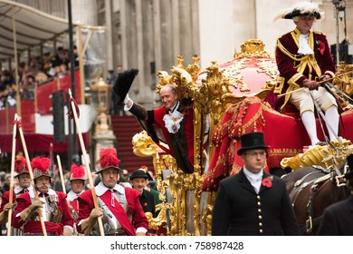LONDON - NOVEMBER 11, 2017: The Lord Mayor of London at the annual Lord Mayor's Show in the City of London on November 11, 2017. The show has been held every year since 1189.