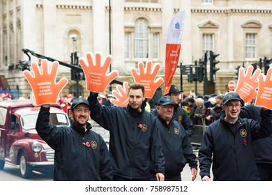 LONDON - NOVEMBER 11, 2017: Unidentified people parading at the annual Lord Mayor's Show in the City of London on November 11, 2017. The show has been held every year since 1189.