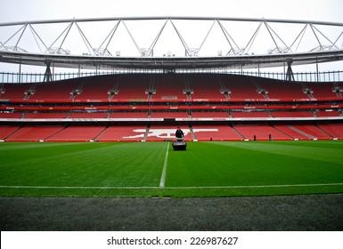 LONDON NOVEMBER 16: Lawnmower on the Emirates stadium on November 16th, 2012 in London, UK