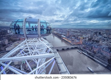 LONDON - November 17, 2014: View of London Eye, Europe's tallest Ferris wheel on the South Bank of the River Thames, a famous tourist attraction. November 17