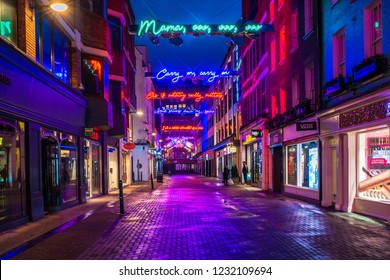 LONDON - NOVEMBER 17, 2018: Christmas lights on Carnaby Street, London UK. This year Carnaby Christmas lights feature dazzling Queen-inspired Bohemian Rhapsody light installation
