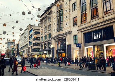 LONDON - NOVEMBER 19, 2016: Christmas lights on Oxford Street, And Christmas madness in London, UK.