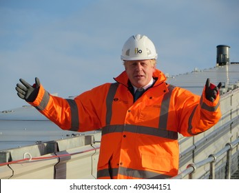 London, November 2015. Boris Johnson, then Mayor of London and now the UK foreign secretary, visits Battersea Power Station, site of the new Northern Line London Underground extension