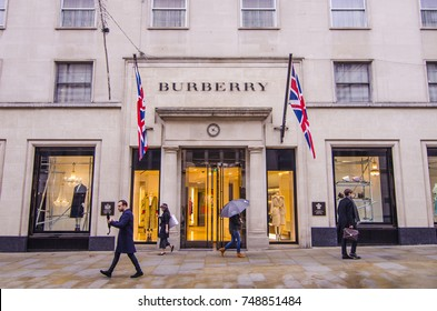 LONDON- NOVEMBER, 2017: Burberry fashion shop on Bond Street, Mayfair in London. A high end British brand selling expensive luxury fashion items.