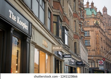 LONDON- NOVEMBER, 2017:  Designer brand shops and Harrods department store in Knightsbridge, London.