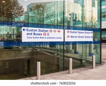 London November 2017. A direction sign for Euston,  warren street and Euston Square station on Euston Road , in Euston.