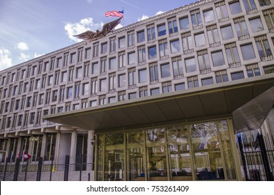 LONDON- NOVEMBER, 2017: Embassy of the United States building aka American Embassy located in Grosvenor Square, Mayfair. An imposing 1960's building with high security