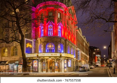 LONDON- NOVEMBER, 2017: Exterior of The Aldwych Theatre in London's West End. A grade II listed theatre with 1200 seat capacity on 3 levels.