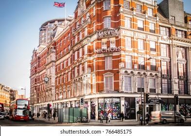 LONDON- NOVEMBER, 2017: Exterior of the Harvey Nichols department store in Knightsbridge, London.
