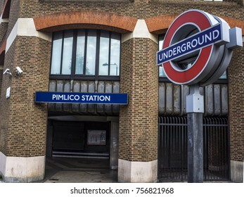LONDON- NOVEMBER, 2017: Exterior of Pimlico tube / underground station on the Victoria line close to Victoria Station.