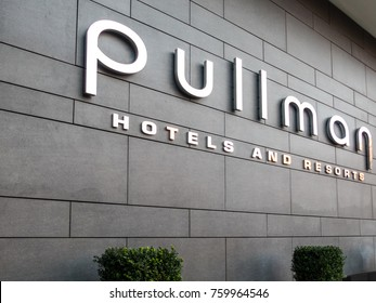 London, November 2017. An external view of the sign outside the Pullman Hotel on Euston road, in Euston.