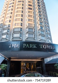 London, November 2017. A front external view of the Park Tower hotel  in Knightsbridge.
