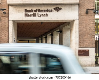 London, November 2017. A front external view of the entrance to the  Bank of America Merrill Lynch financial centre on Newgate Street in St Pauls.