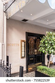 London, November 2017. A front view of the entrance to Scotts restaurant, in Mount Street in Mayfair.