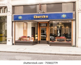 London, November 2017. A front view of Churchs shoe shop, in Chancery lane.