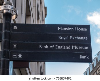 London, November 2017. A front view of a directional sign, in Cheapside, in the City of London.