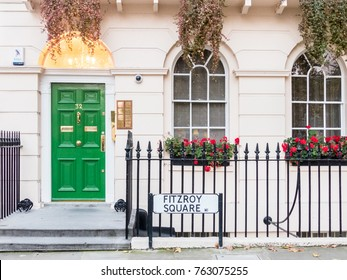 London, November 2017. A front view of a green door, on Fitzroy Square, in Euston.