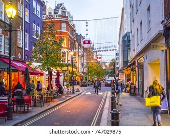 LONDON- NOVEMBER, 2017: James Street, close to Oxford Street in central London. A popular place to eat for tourists and shoppers.