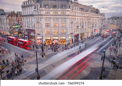 LONDON- NOVEMBER, 2017: Looking down on busy Oxford Circus , an iconic London landmark which joins two the major shopping areas of Regent Street and Oxford Street