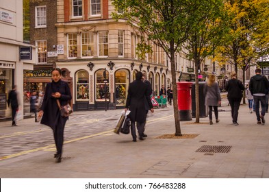 LONDON- NOVEMBER, 2017: Motion blurred people shopping on Jermyn Street, and upmarket street in Mayfair close to St James Street and Piccadilly famous for its tailors and art galleries.