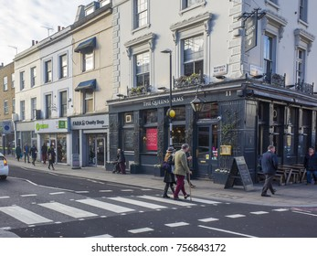 LONDON- NOVEMBER, 2017: A pub and shops on Warwick Street, Pimlico. An upscale residential area of London close to Victoria train station