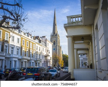 LONDON- NOVEMBER, 2017:  Residential area of Pimlico, London with St Gabriel's Chruch and townhouses.