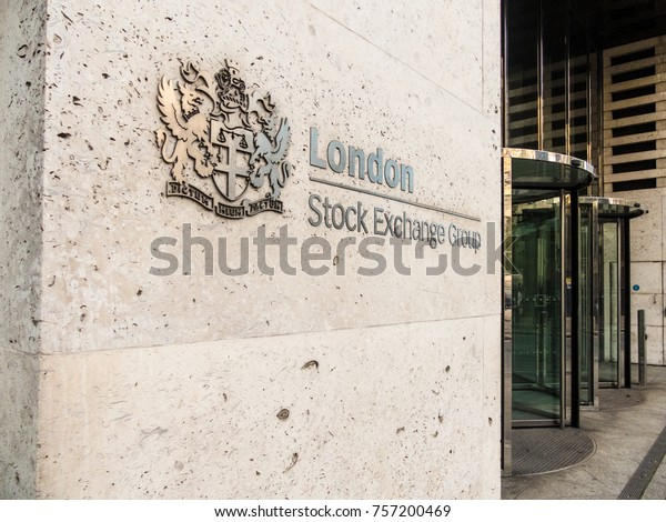 London, November 2017. A sign at the entrance to the London Stock Exchange building in St Pauls.