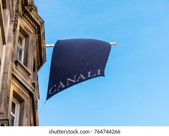 London, November 2017. A view of a flag above the Canali store, on New Bond Street, in Mayfair.