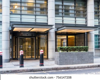 London November 2017. A view of the Goldman Sachs London head office building. This is the entrance on Shoe Lane.