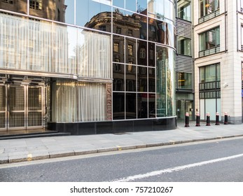 London November 2017. A view of the Goldman Sachs London head office building. This is the entrance Fleet Street.