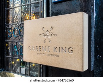 London, November 2017. A view of a Greene King sign on the Coach and Horses pub on Bruton Street, in Mayfair.