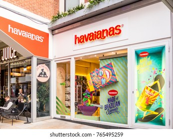 London, November 2017. A view of the Havaianas store on Broadwick Street in Soho.