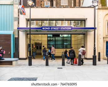 London, November 2017. A view of the new entrance of Bond Street station on  Marylebone Lane, in Marylebone.