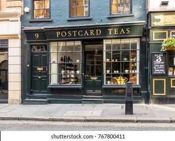 London, November 2017.  A view of Postcard teas, a specialist Tea shop in Dering Street, in Mayfair.