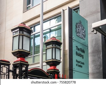 London, November 2017 . A view of the sign at the Rolls Building, in the City of London, which is part of the Royal Courts of justice.