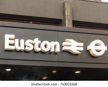 London November 2017. A  view of an a sign at London Euston Station , in Euston.