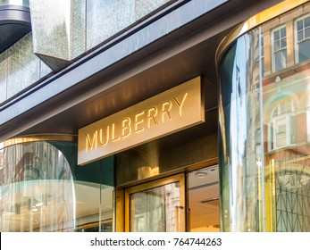 London, November 2017. A view of the sign on the Mulberry store, on New Bond Street, in Mayfair.