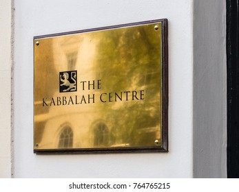 London, November 2017. A view of the sign outside the  Kabbalah centre, on Stratford Place, in Marylebone.