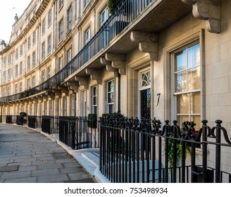 London November 2017. A view of Wilton Crescent, which is located in Knightsbridge, Belgravia. It is one of the most affluent roads in London.
