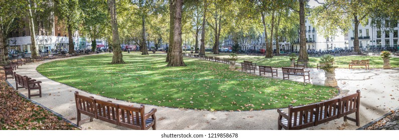 LONDON- NOVEMBER, 2018: Berkeley Square panorama, a large town square in Mayfair in the west end of London