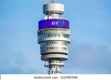 LONDON- NOVEMBER 2018: The BT Tower,   a prominent London building & HQ of British multinational telecommunications company