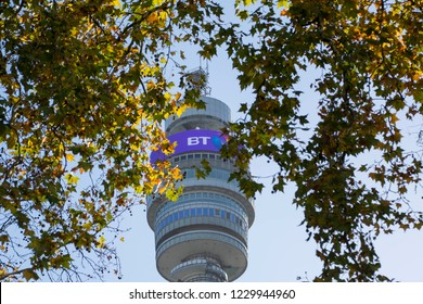 LONDON- NOVEMBER 2018: The BT Tower, headquarters of BT, a British multinational telecommunications company