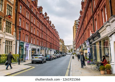 LONDON- NOVEMBER, 2018: Chiltern Street- A beautiful upmarket shopping street in London's west end.